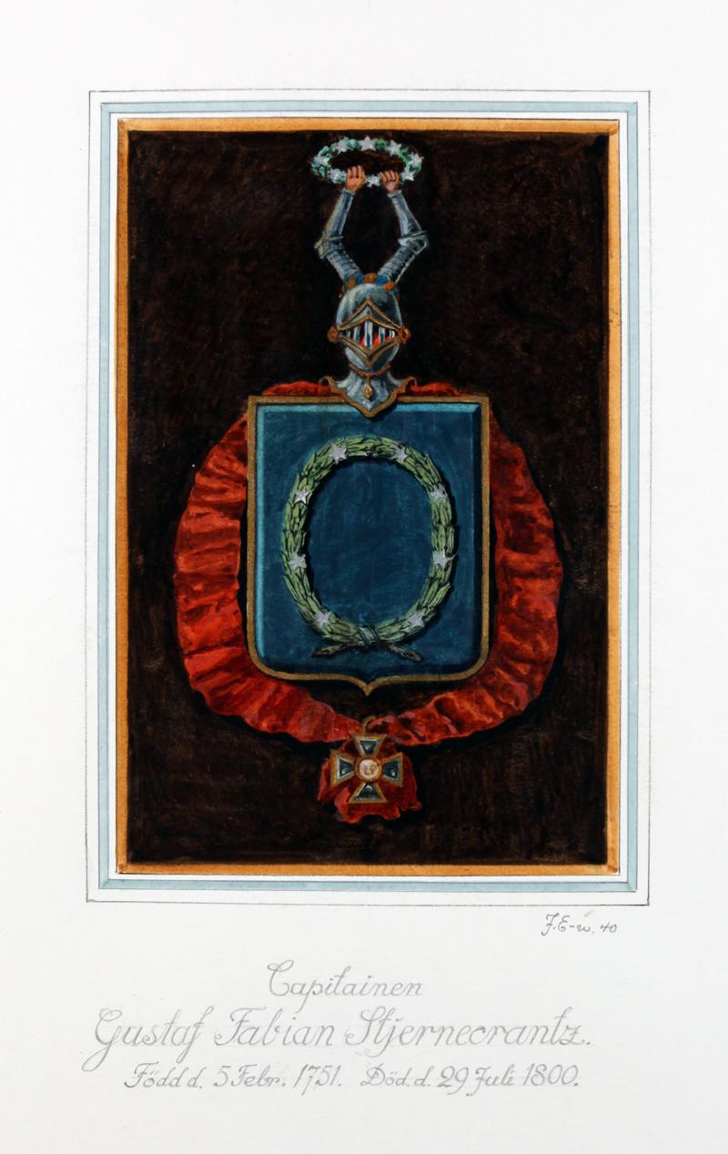 Gustaf Fabian Stjerncrantz' vapensköld. Miniatyrsköld utförd 1940 av John Ericsson.