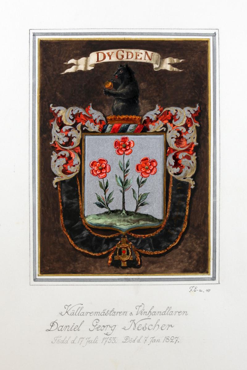 Daniel Georg Neschers vapensköld. Miniatyrsköld utförd 1940 av John Ericsson.