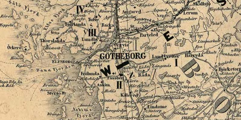 Göteborg. Detalj ur Karta öfver Medlersta och Södra Sverige 1870 (Generalkartor över Sverige). Krigsarkivet.