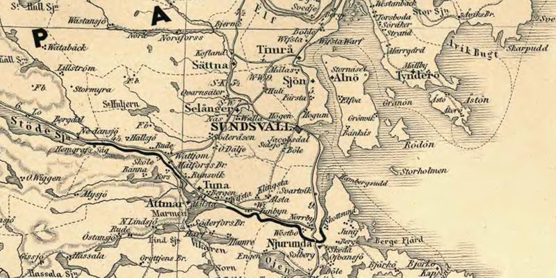 Sundvall. Detalj ur Karta öfver Medlersta och Södra Sverige 1870 (Generalkartor över Sverige). Krigsarkivet.