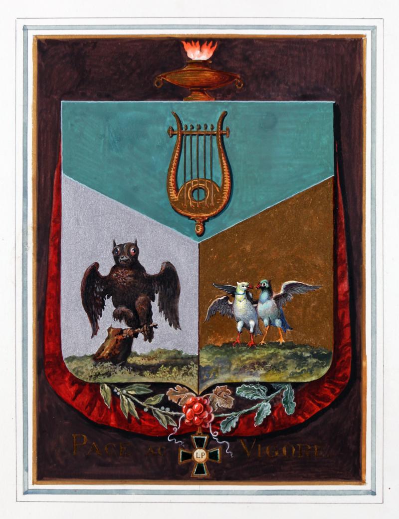 Pehr Westerstrands vapensköld. Miniatyrsköld utförd av John Ericsson 1940.