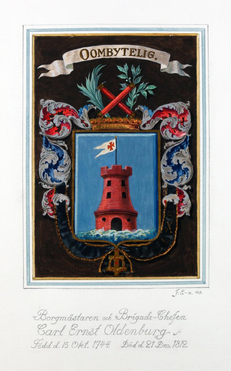 Carl Ernst Oldenburgs vapensköld. Miniatyrsköld utförd 1940 av John Ericsson.