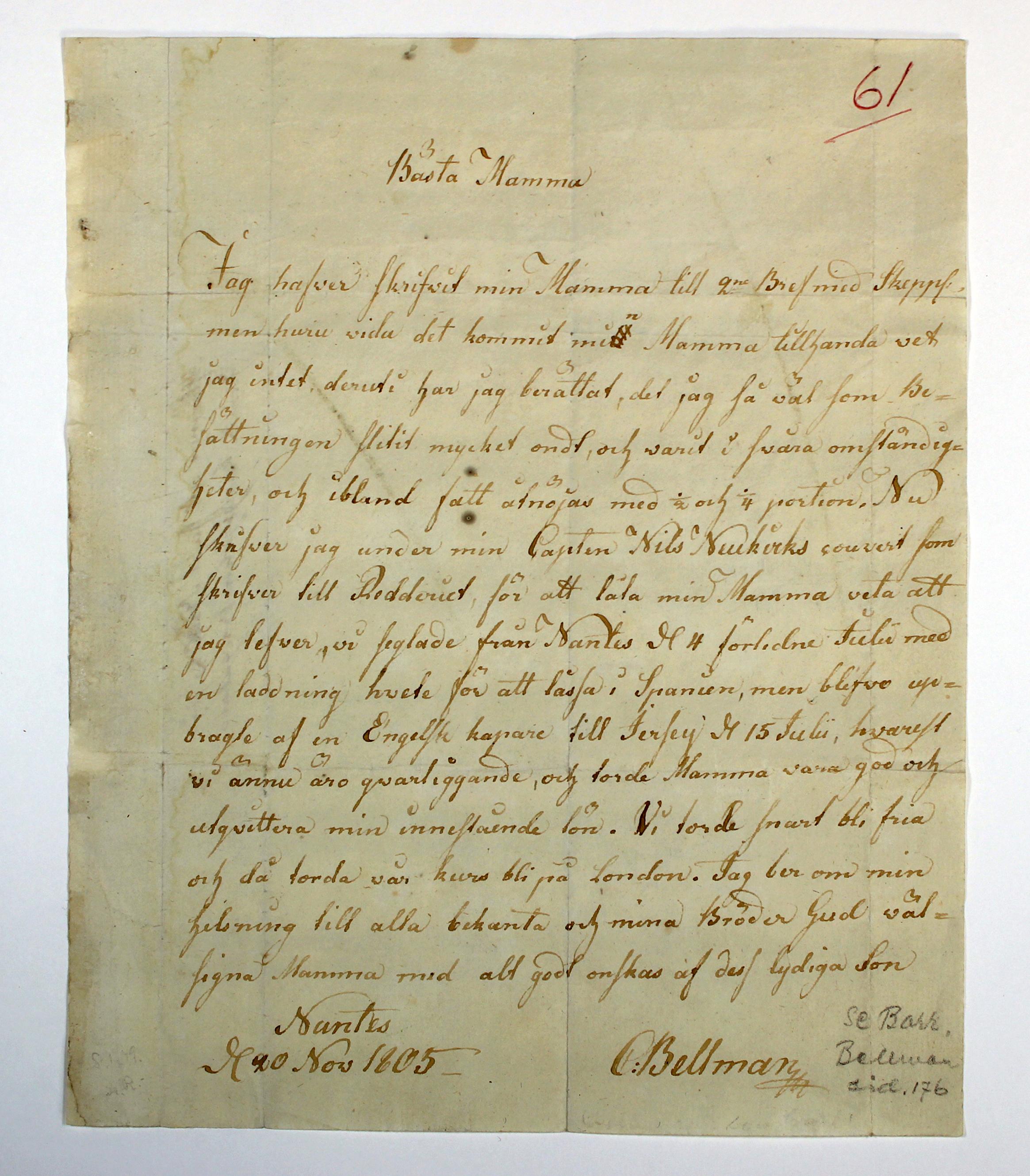 Carl Bellmans brev från 1805 - i Par Bricoles arkiv.