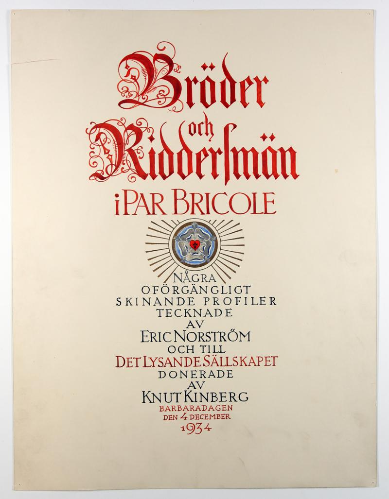 Eric Norströms porträtt från 1934 - Titelsida